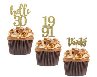 Hello 30 cupcake topper, 30th birthday, hello thirty cupcake topper, custom age cupcake topper, Set of 12 birthday Cupcake topper.
