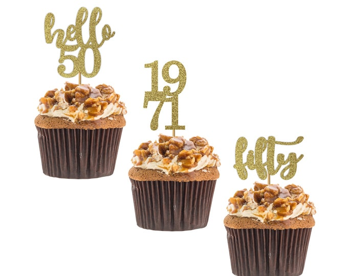 Hello 50 cupcake topper, 50th birthday, hello fifty cupcake topper, custom age cupcake topper, Set of 12 birthday Cupcake topper