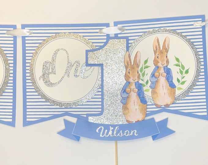 Peter Rabbit Birthday, High Chair Banner, Birthday High Chair Decoration, Peter Rabbit, 1st birthday cake topper, First birthday