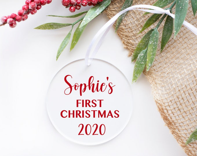 Baby's First Christmas Ornament, 2020 Christmas Bauble Decorations with Custom Name, Christmas Ornament for Baby, Acrylic Christmas Ornament