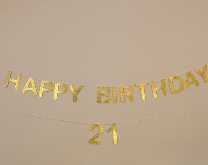 Happy Birthday Gold Banner, Gold Birthday Banner, Happy Birthday Banner, Custom text banner