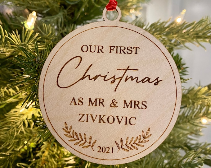 Our First Christmas as Mr and Mrs Ornament, Married Couple Christmas Gift, Wedding Gift, Personalized Christmas Ornament for Newlyweds