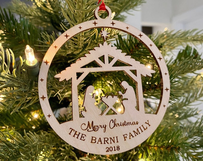 Personalized Nativity Merry Christmas Family Ornament, Bauble Decorations, Custom Christmas Ornament, Personalized Christmas Gift