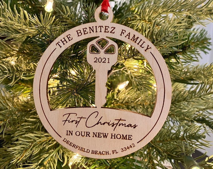 First Christmas in our New Home, Personalized Christmas First Home Ornament, Home Key, New Home Gift, Housewarming Gift