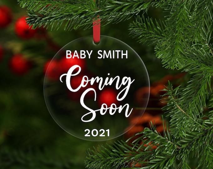 Pregnancy Announcement Christmas Ornament, Coming Soon Pregnancy Announcement Ornament, Personalized Ornament, Christmas Ornament for Baby