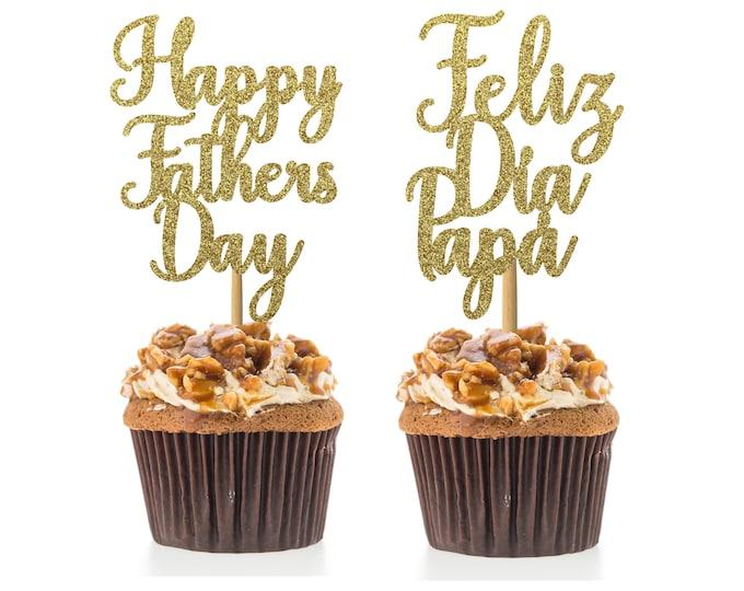 Happy Fathers Day cupcake topper, Feliz dia Papá, set of 12 cupcake toppers, Father's Day toppers, Spanish Father's Day toppers