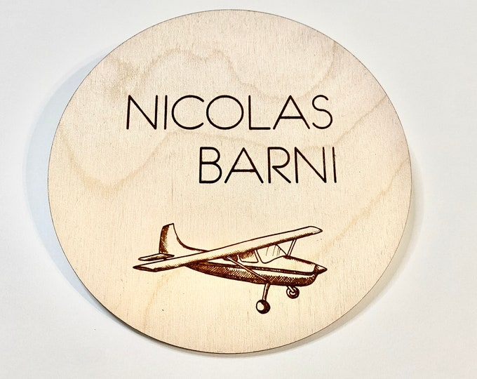 Vintage Airplane Baby Name Sign, Wooden Engraved Newborn Photo Prop, Nursery Sign, Personalized Birth Announcement, Hospital Photo