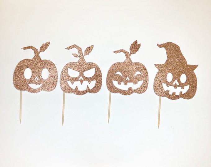 Pumpkin Cupcake Topper, Halloween Cupcake Toppers, Halloween Party Decor, Halloween Birthday Party, Pumpkin Decor, set of 12 cupcake topper