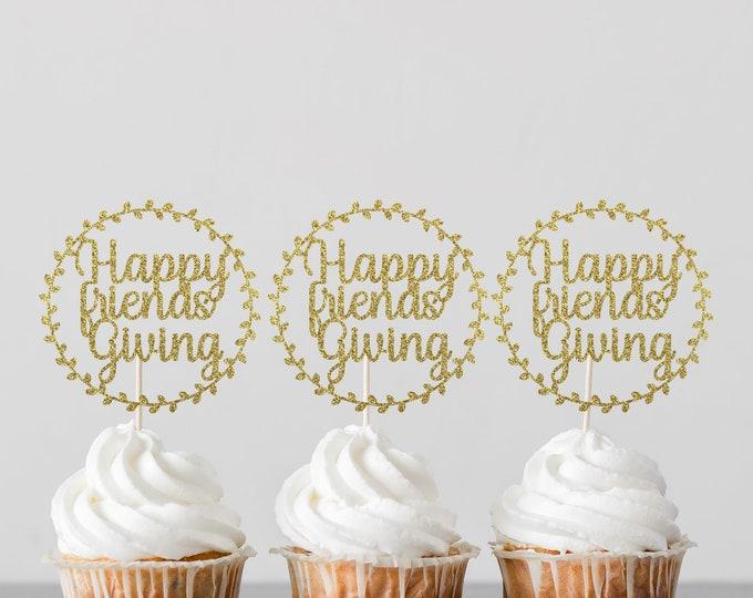 Happy Friendsgiving cupcake topper, Happy thanksgiving cupcake toppers, Thanksgiving Cupcake Toppers, Fall Themed