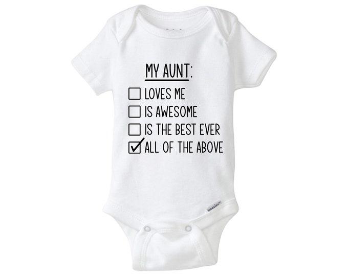 Aunt Onesie, Adorable Auntie Baby Bodysuit, Aunt Gift, I Have The Best Aunt Ever, Auntie Onesie, Cute Baby Bodysuit