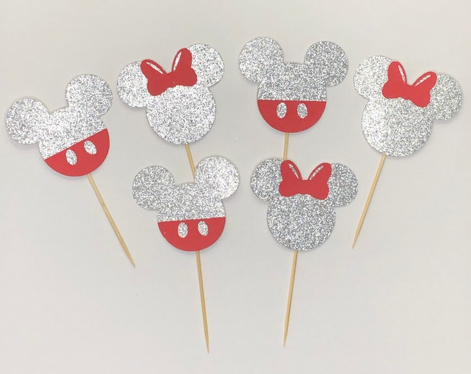 Gender reveal cupcake topper, Mickey and Minnie Inspired gender reveal cupcake topper.