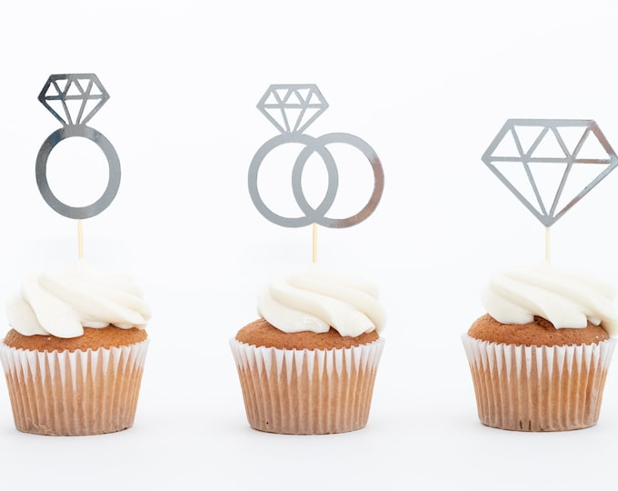 Diamonds and Rings Cupcake topper, appetizer toothpick, Bride to Be, Bachelorette, Engaged, Engagement, Bridal Shower decoration