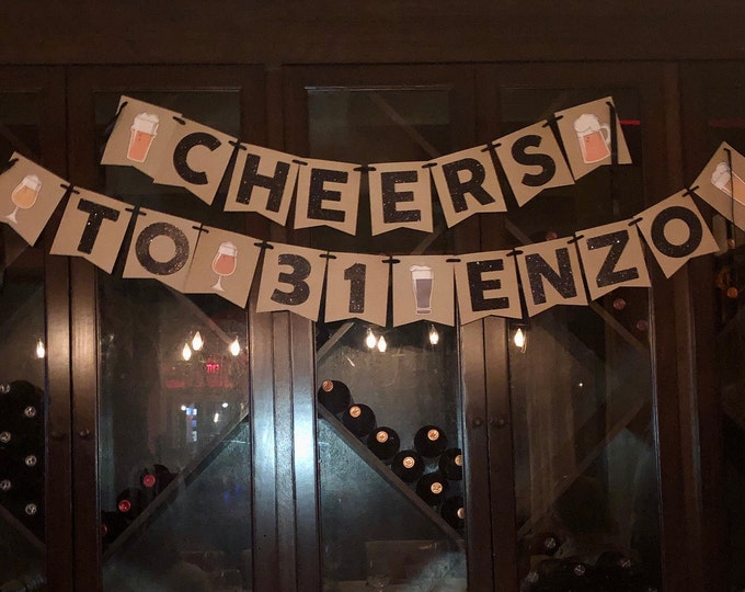 Cheers to age beer banner, Birthday banner, Beer Banner, Birthday Decorations, 31st birthday banner, dirty 31 - cheers and beers banner
