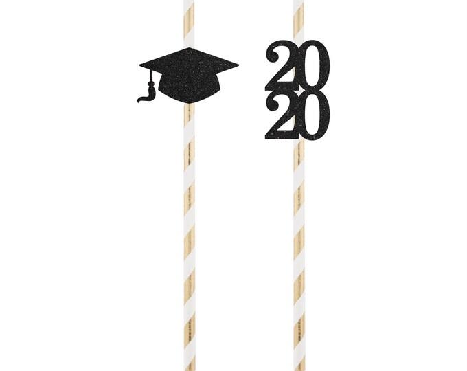 Graduation Paper Straw, Graduation 2021 Straw, College Grad Straw 2021, Graduation Party Decor.