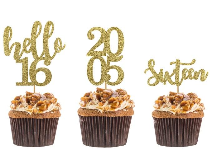 Hello 16 cupcake topper, 16th birthday, hello sixteen cupcake topper, custom age cupcake topper, Set of 12 birthday Cupcake topper.