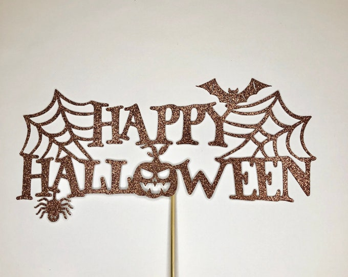 Happy Halloween cake topper, Personalized Happy Birthday Cake Topper, Custom Topper, Halloween Birthday Party Decorations
