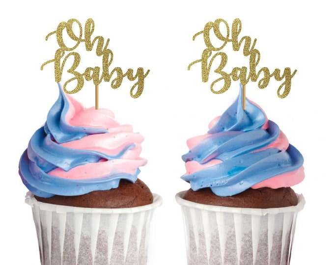 Oh Baby Cupcake topper, Gender reveal cupcake topper, Baby shower, Baby Boy, Baby Girl
