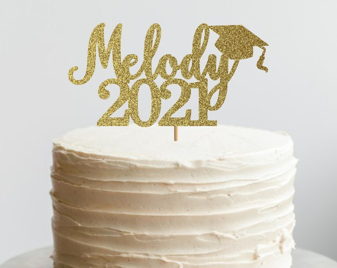 Congrats Name Cake Topper, Personalized Graduation 2021 Name Cake Topper, High School Prom Decorations, Prom party 2021 Centerpiece,