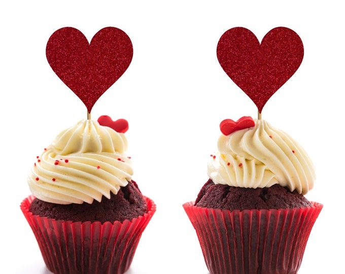 Valentine's Day Theme, Heart Cupcake Topper, Bridal Shower, Wedding Cupcake Topper, Bridal Shower Decor, Wedding Decor, Wedding Cake topper