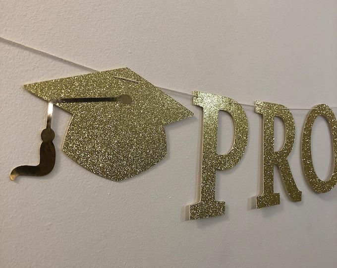 Banner Prom 2021, Prom 2021 Glitter banner - Gold glitter banner - Prom decoration - Graduation Party Decoration