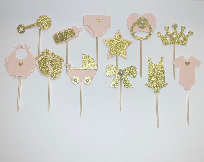 Baby Shower Cupcake Topper or Toothpick for appetizer, Baby Cupcake Topper, Baby shower decorations, Boy or Girl Toothpick, Toothpick, baby.