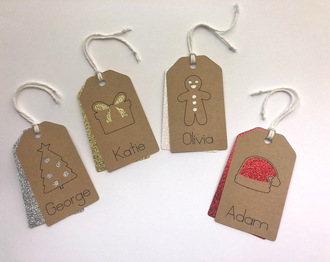 Personalized Christmas Gift Tags, Packs of Custom Gift Tags, Christmas Gift Wrapping,  Christmas Tag.