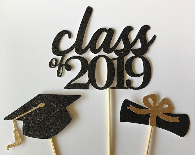 Graduation Party 2021, Graduation Centerpiece Sticks, Graduation Cake Topper, Grad party, Cap and Diploma, Class of 2021, Prom 2021.