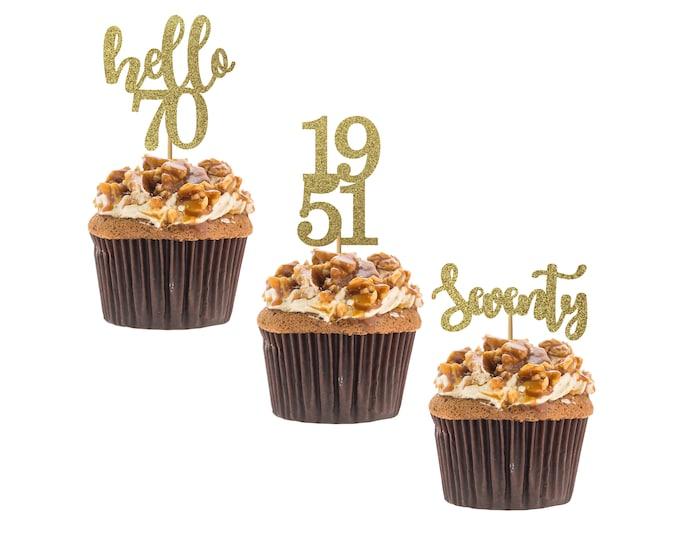 Hello 70 cupcake topper, 70th birthday, hello seventy cupcake topper, custom age cupcake topper, Set of 12 birthday Cupcake topper.