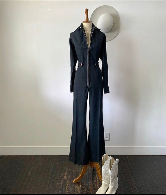 Vintage 70's bellbottom zip up jumpsuit