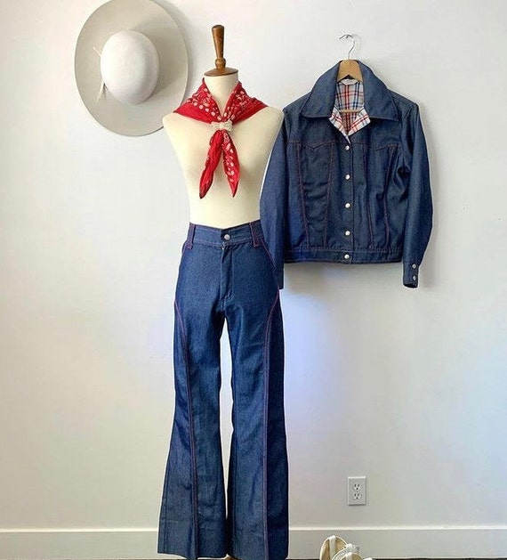 Vintage 70's two piece denim western suit by Prior