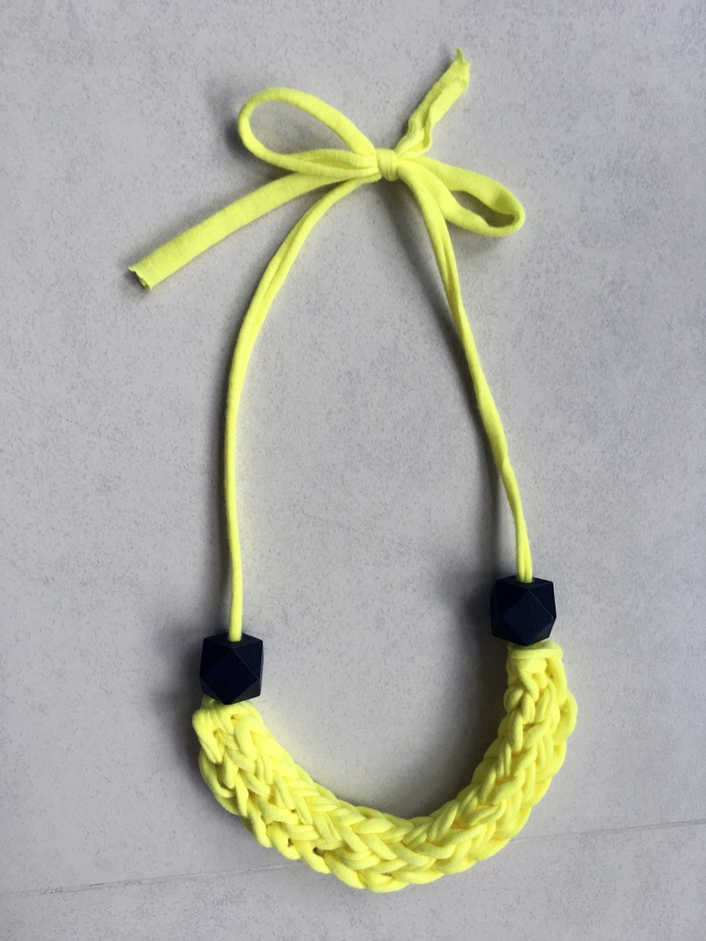yellow necklace knitted necklace braided necklace chunky necklace T-shirt yarn necklace fabric necklace statement necklace