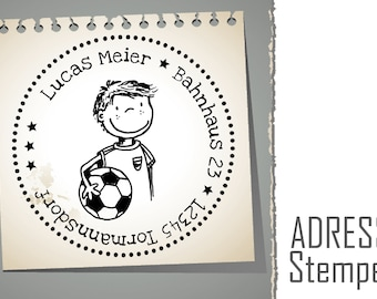 AUTOMATIK address stamp around *** football ** personalized