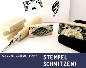 ANTI-LANGEWEILE- STEMPEL self Carving Set