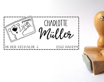 Post bear (small) personalized STEMPEL 2.5 x 5 cm