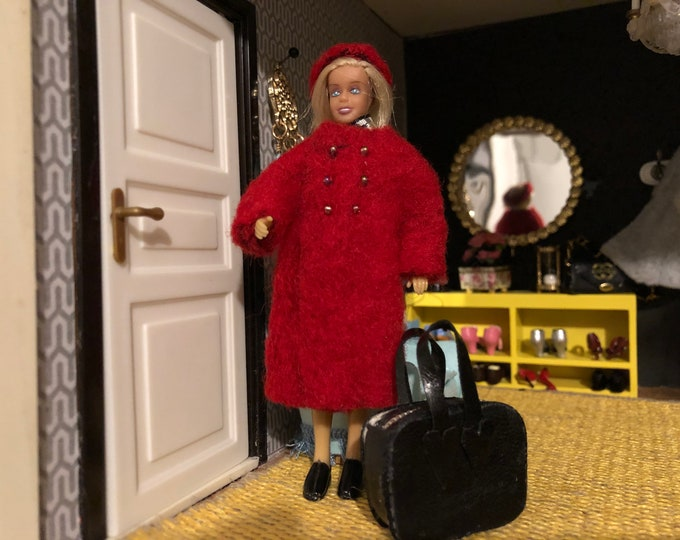 Featured listing image: A red coat with a black bag for Lundby doll (1:18 doll not included)