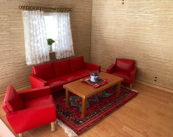 Lundby Red sofa group set with small plants and curtain (1:18)