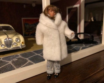 A white coat with trousers for Lundby doll (1:18 doll not included)
