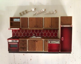 Lundby red kitchen set with lights (1:18)