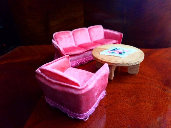Remarkable Lundby Pink Sofa Set 70S 1 18 Onthecornerstone Fun Painted Chair Ideas Images Onthecornerstoneorg