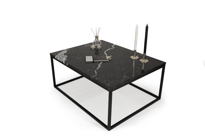 Kundenspezifischer Couchtisch Blacky Schwarzer Marmor Nero Marquina Marmorplatte Couchtisch Fashion Home