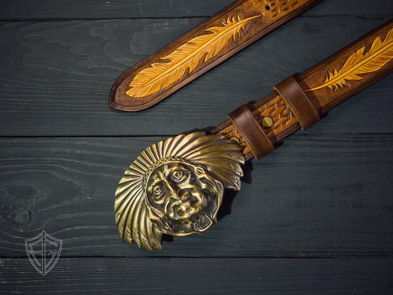 Indian brown leather belt western Belt Anniversary gift men Western leather belt