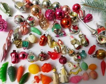 65 miniature mini vintage antique christmas ornaments and 1 topper for miniature christmas tree antique christmas glass ornament ornaments - Antique Christmas Decorations