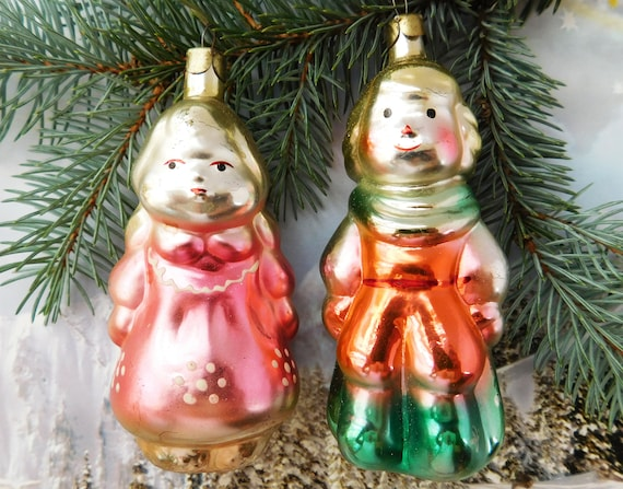 Vintage Christmas Decorations.Two Vintage Christmas Ornaments Christmas Decorations Tree Vintage Antique Christmas Ornaments Ornament Soviet Christmas Boy And Girl