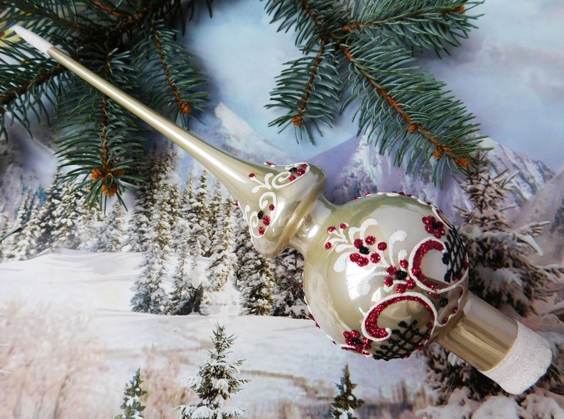 Vintage Christmas Glass Tree Topper 27cm 10 8 Inch Tree Topper Antique Christmas Ornaments Ornament Tree Topper Top