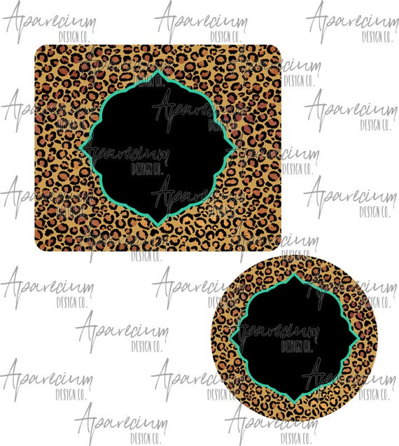 Leopard Print Mouse Pad And Coaster Desk Set Sublimation Design