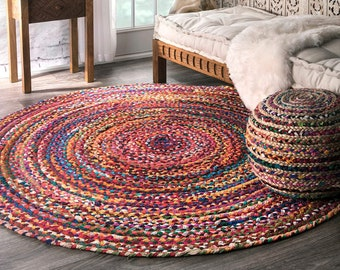 Bohemian Colorful Cotton Area Rugs Hand Braided Round Rugs Multi Color Home Decor Rugs Bohemian Rug Floor Rug Room Decor New Design Rugs