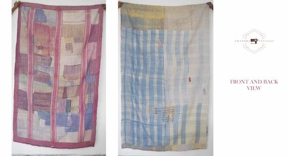 Vintage Kantha Handmade Bedspread Indian Quilt Cotton Blanket Gudari Ralli Throw