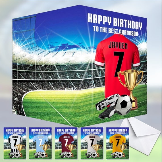 Personalised Football Shirt Birthday Card Son Husband Dad Boys White and Red Kit
