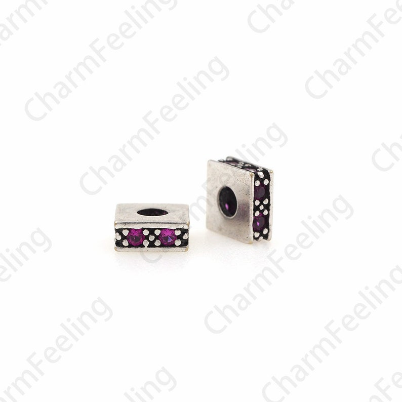 Bracelet Spacer Beads 5.8x2.6mm 1pcs Square Charm Micro-Pave Colorful Square Spacer Beads Cubic Spacer Beads