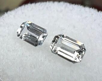 0.91 carats   Natural White Sapphire Pair   5.48 x 3.45 x 2.19 mm   Ocatagon Shape   Loose Gemstone